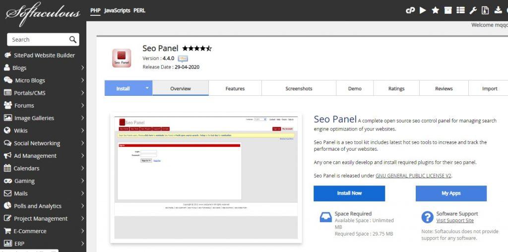 Installation of SEO Panel using Softaculous